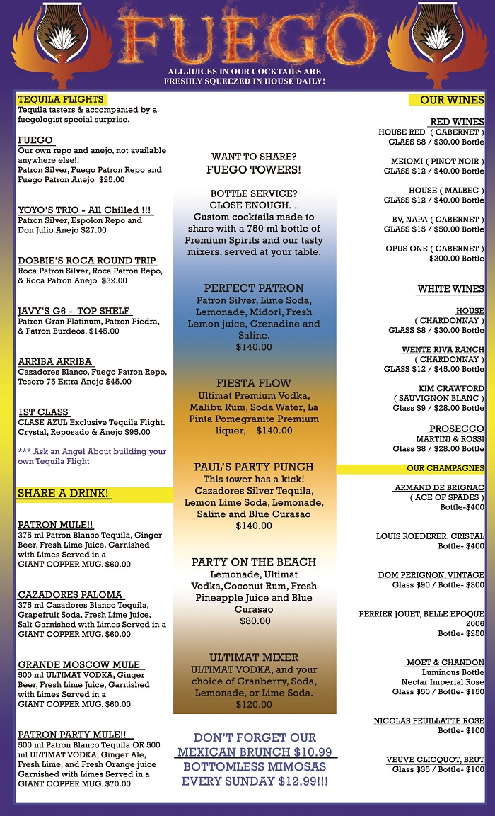 drinks menu fuego tequila grill page 1