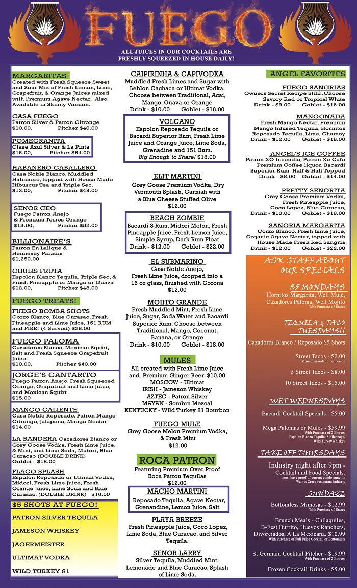 drinks menu fuego tequila grill page 2